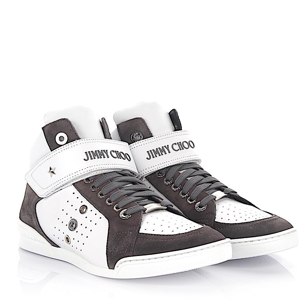 Sneaker high Lewis leather white suede grey Jimmy Choo London yiIgr