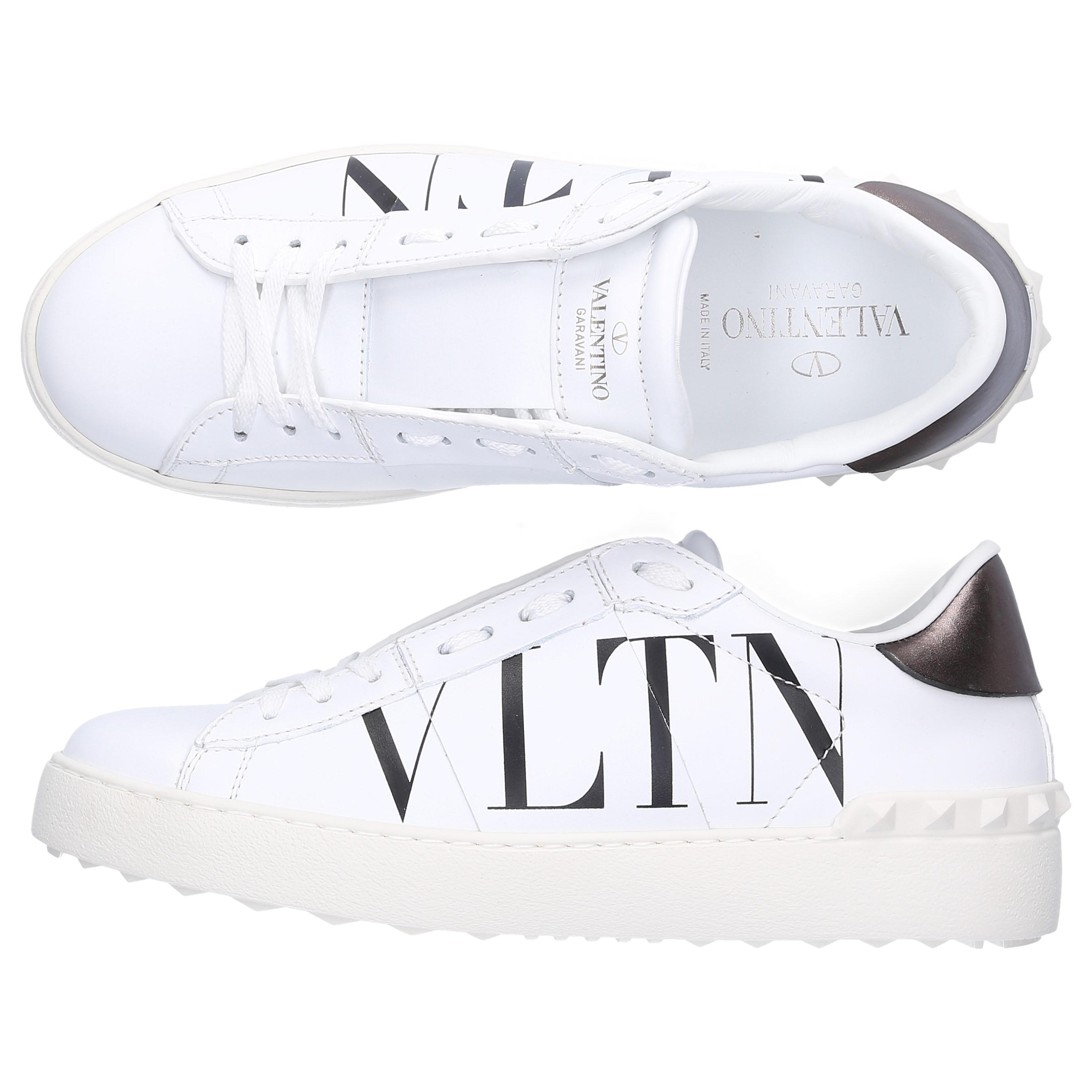 Calfskin In Lyst Vlnt White Logo Low Top Open Sneakers Valentino xffwYqTSz