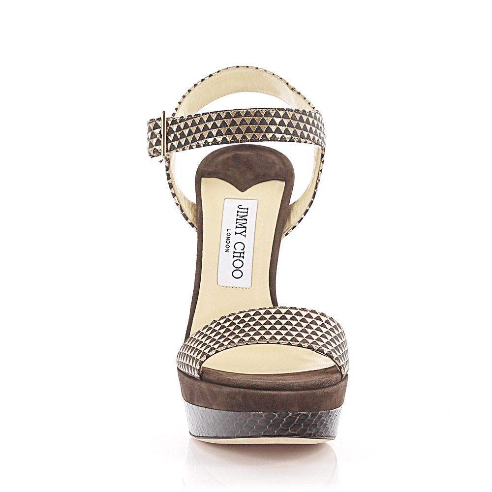 Sandals Dora Plateau leather gold metallic suede brown python print Jimmy Choo London lTalyj