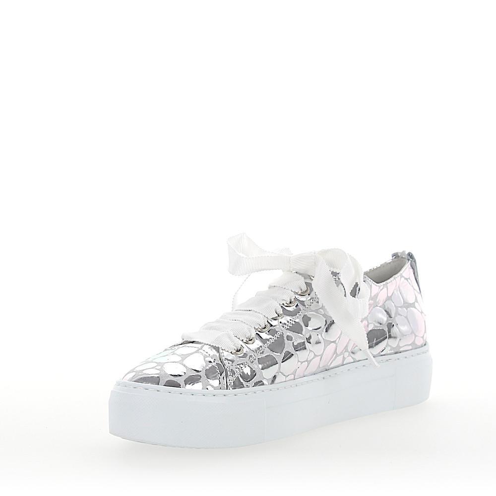 Agl Attilio Giusti Leombruni Sneakers D925065 Plateau Leather Metallic Silver Stone Pattern