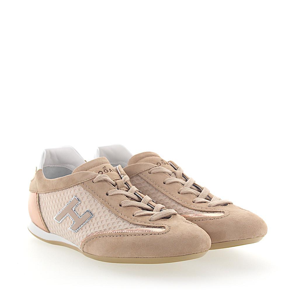 Hogan. Women's Natural Sneaker Olympia Veloursleder Stoff Beige Leder ...