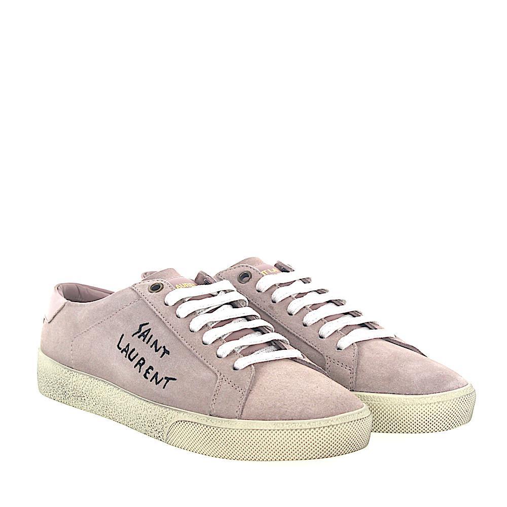 Saint Laurent Sneakers D5XH0 suede rosè blue print logo TTwuDs