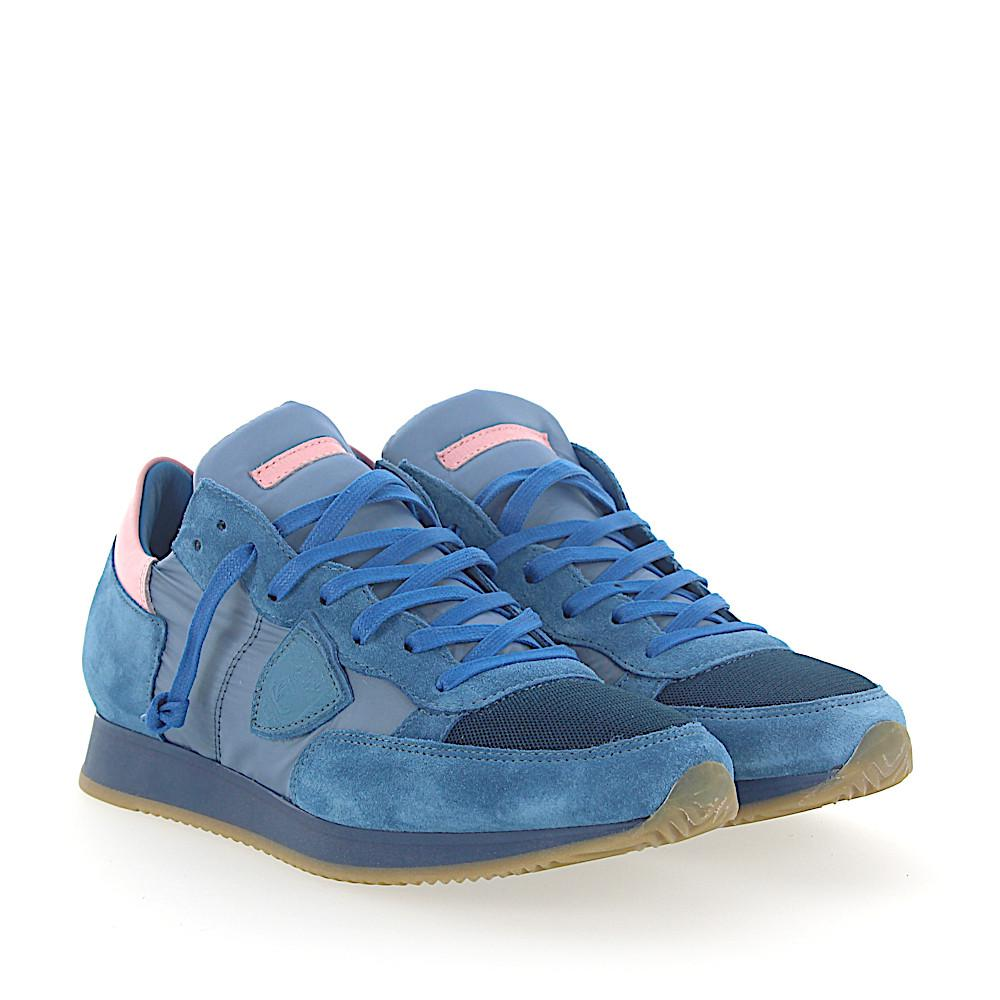 new styles 72388 636e7 philippe-model-blue-Sneakers-Tropez-Suede-Nylon-Mesh-Blue-Leather-Pink.jpeg