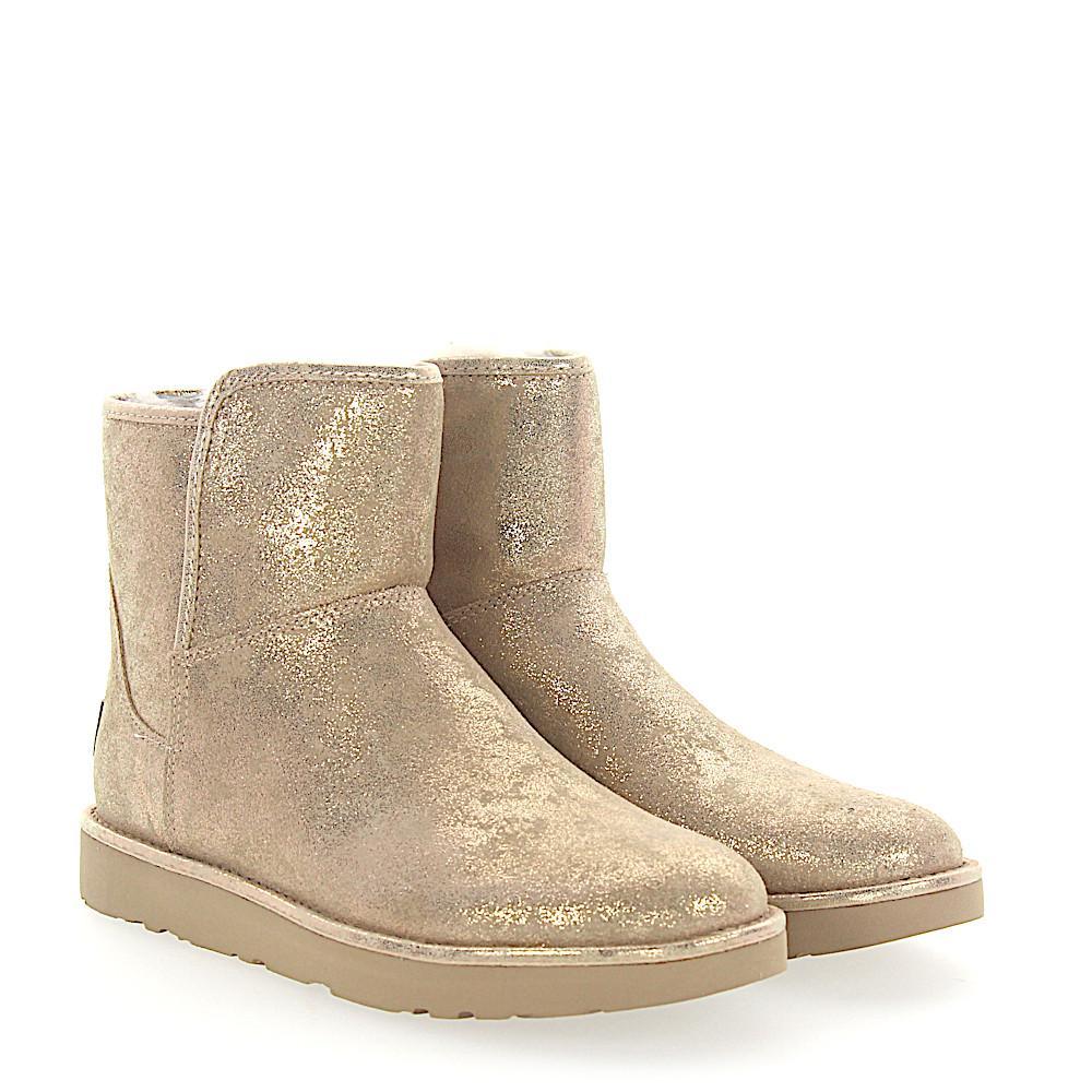 UGG Fur Stiefeletten Boots Abree Mini Veloursleder Gold Finished in Metallic
