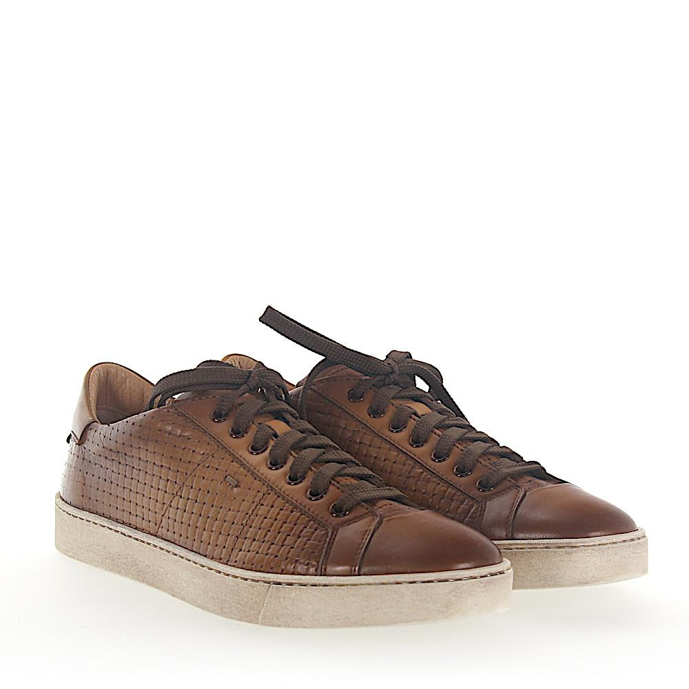 Sneaker 20374 smooth leather Braiding Embossing brown Santoni te9MFj2