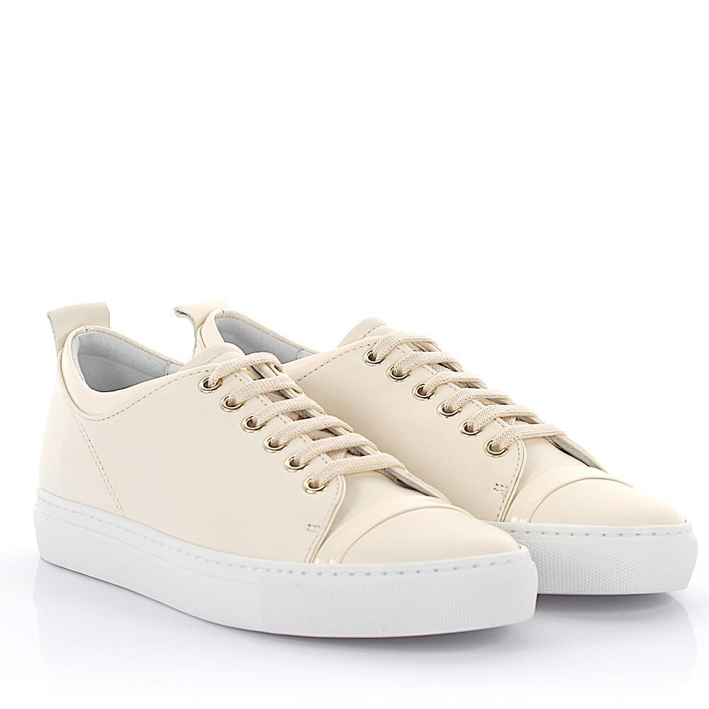 Sneaker goatskin lambskin patent leather smooth leather white Lanvin arXfsKV