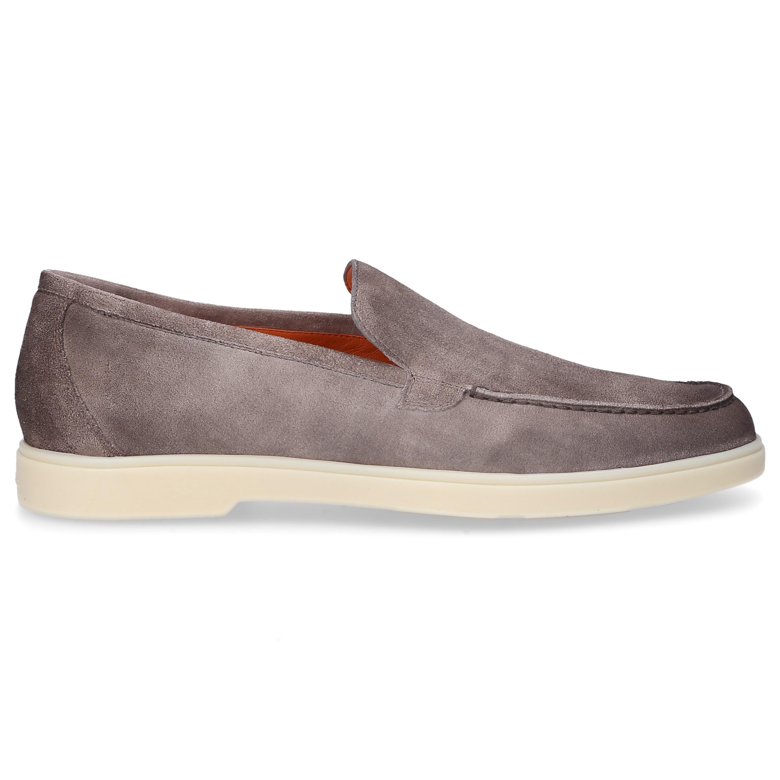 Santoni Suede Loafers 15996 in Grey