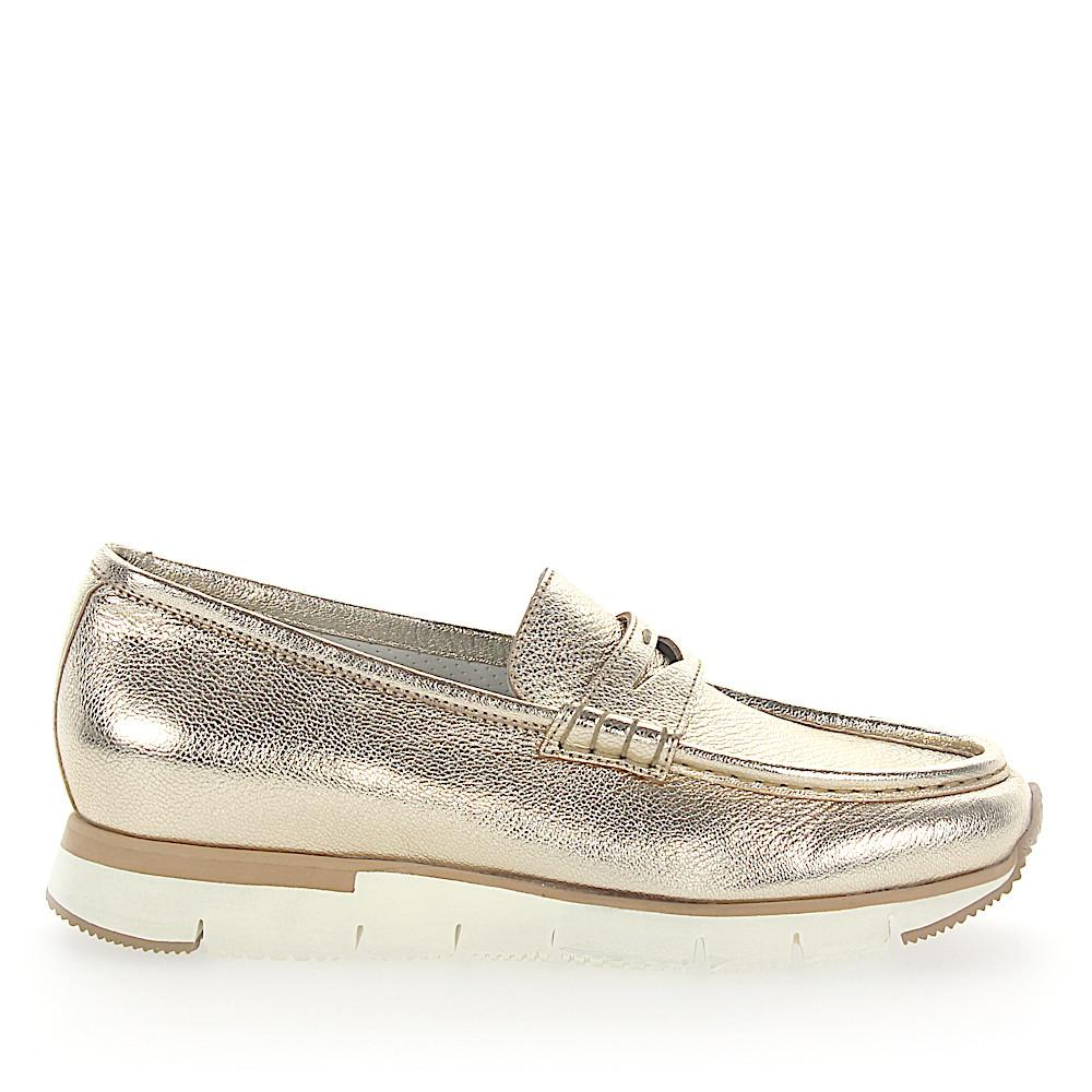 556a3a8f73e Lyst - Santoni Penny Loafer 60183 Plateau Leather Gold Metallic in ...