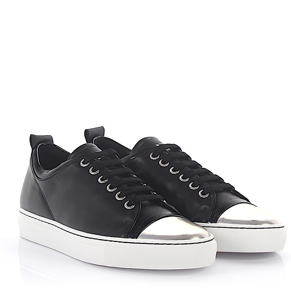 Sneaker lambskin patent leather smooth leather black silver Lanvin Miuzl0