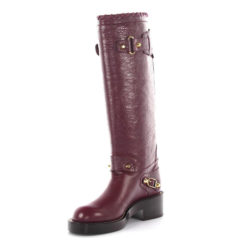 Balenciaga Knee boots Pelle lamb fur leather bordeaux INon8hdu