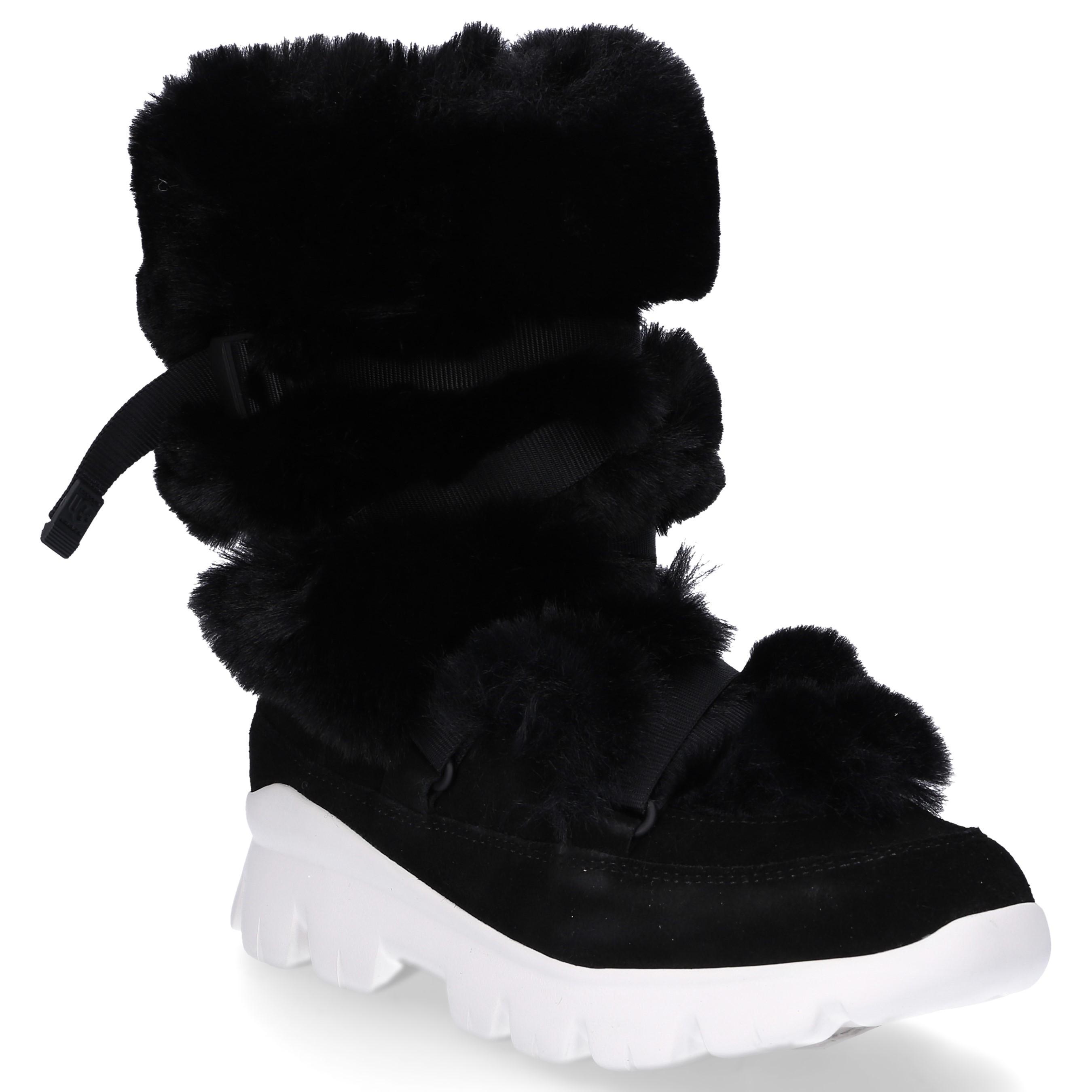 282a38cf089 Women's Ankle Boots Misty Boot Rabbit Fur Suede Decorative Lacing Fur Upper  Black