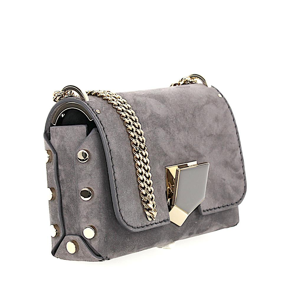 5d315b6f56a2 Lyst - Jimmy Choo Women Shoulder Bag Lockett Petite Suede Grey in Gray