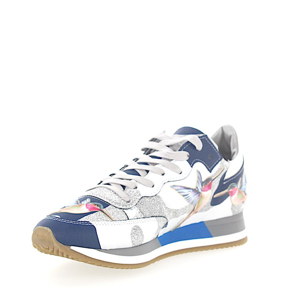 Sneakers PARADIS leather camouflage blue white glitter silver humming-bird Philippe Model bBkls7h4p