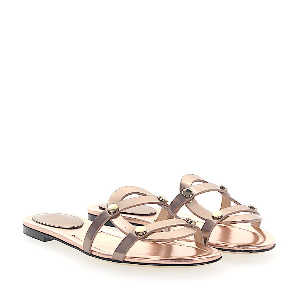 Jimmy choo Sandals DAMARIS FLAT leather rosè gold rivets gold CI6N5Rc