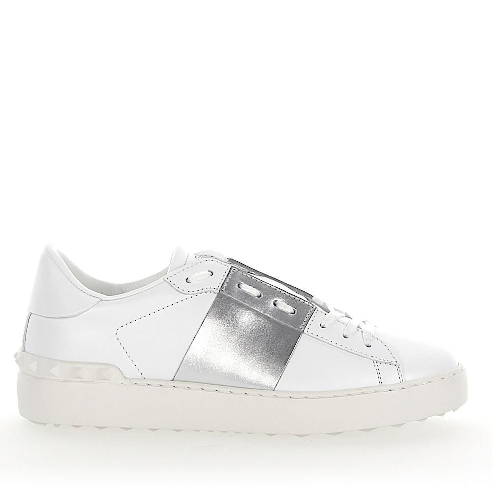 c528b1165606 Lyst - Valentino Sneakers Open Leather White Stripes Silver Metallic ...