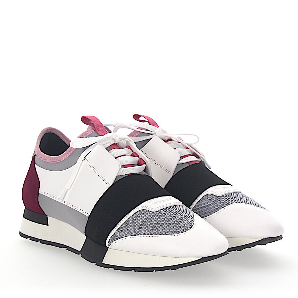 Balenciaga Sneakers RACE RUNNER leather white suede bordeaux fabric mesh grey 96Un5lalUv