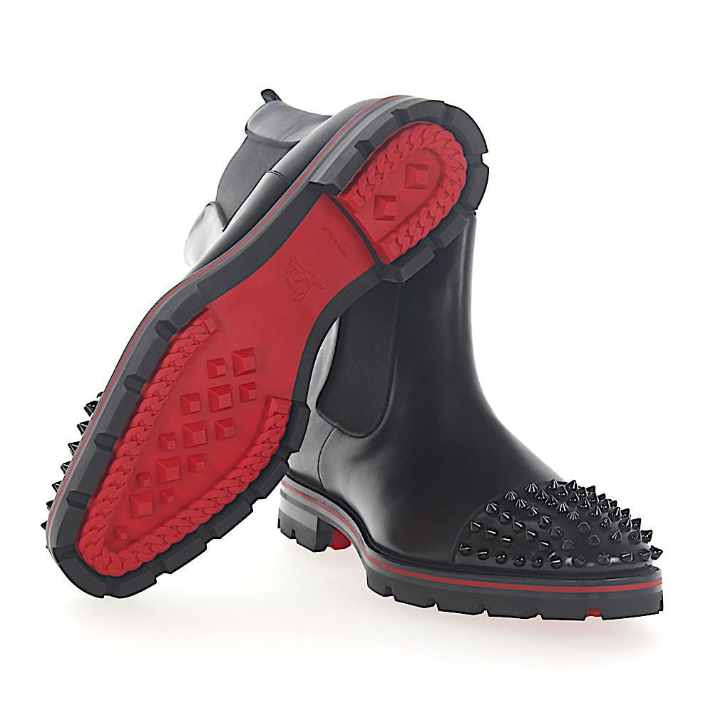 the latest dfaa6 d625a Christian Louboutin Boots Melon Spikes Leather Black Spikes Black