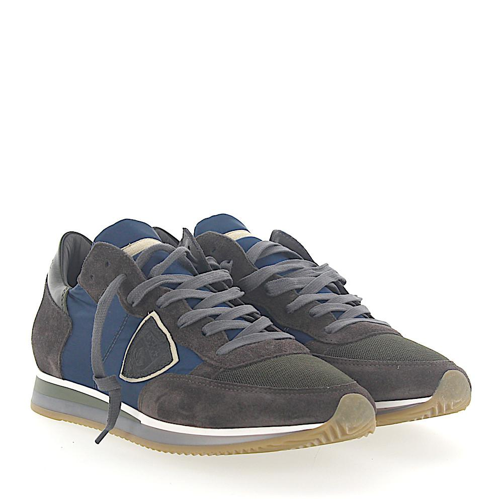 Philippe model Sneakers TROPEZ leather suede gold nylon mesh nqvPYfKj