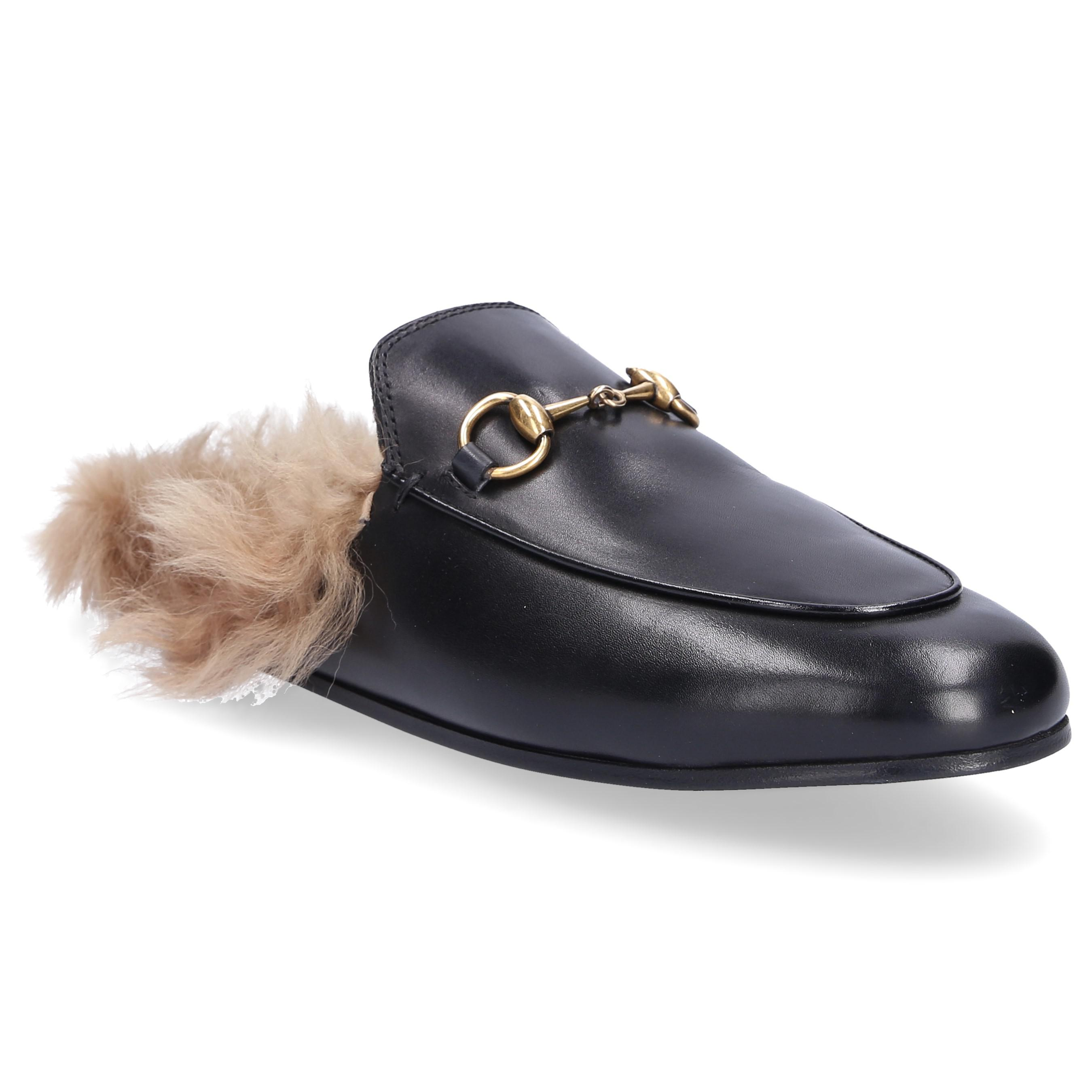 250372d57 Lyst - Gucci Slip On Shoes Dkhh0 Lamb Fur Smooth Leather Horsebit ...