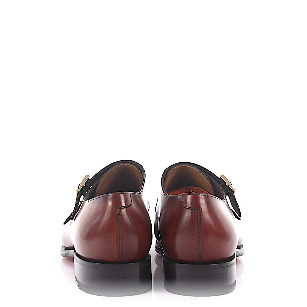 Double-Monk-Strap 14571 leather crocodile leather red brown Goodyear Welted Santoni Xqxz8xVi