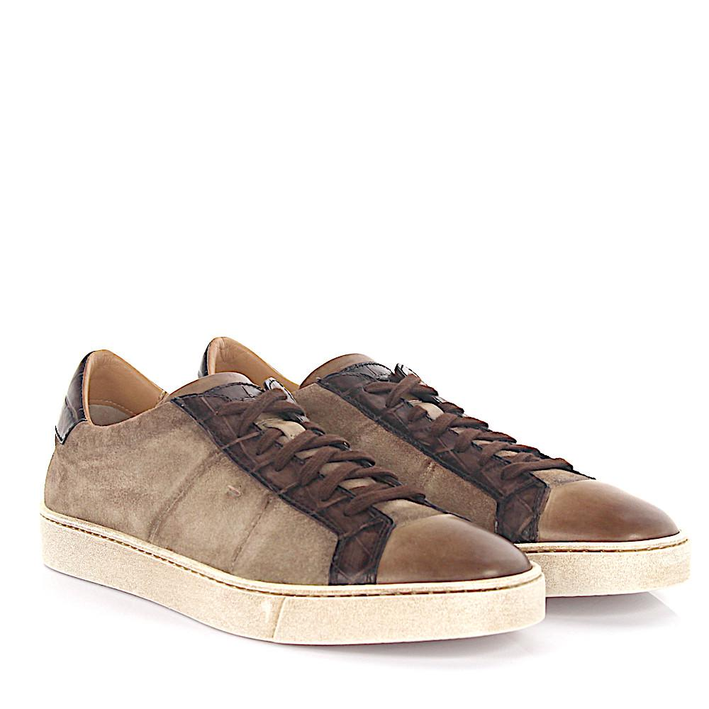 Sneaker low 20000 suede leather taupe finished leather brown crocodile embossed Santoni vUilw