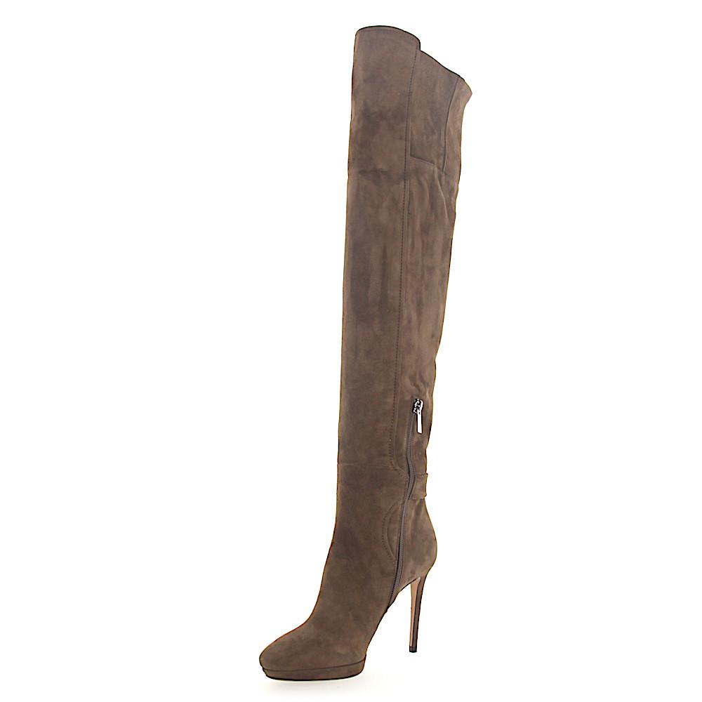c2166d00df1ff0 Lyst - Jimmy Choo Boots Overknees Sue Plateau Suede Brown in Natural