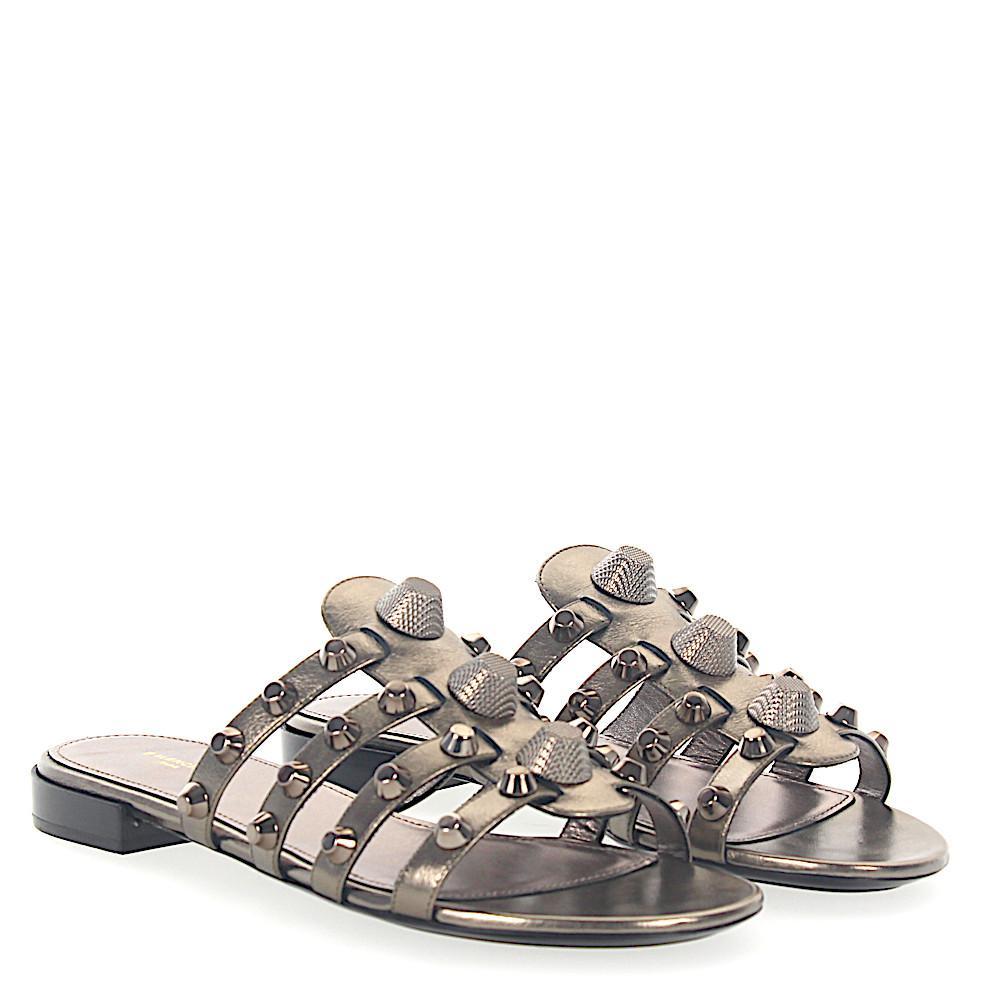 Balenciaga Sandals leather bronze metallic rivets O9jBGowogW