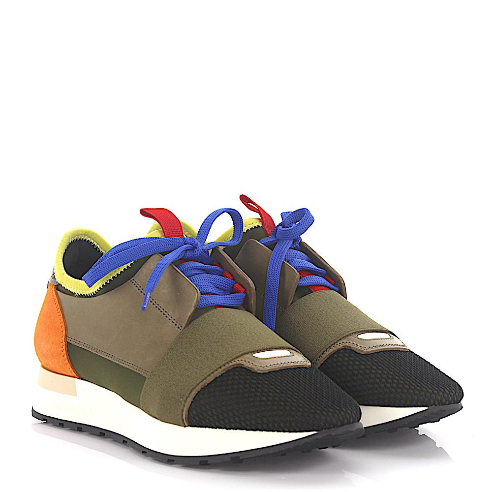 c7828c767356 Balenciaga Sneakers Race Runner Leather Fabric Olive Suede Orange in ...