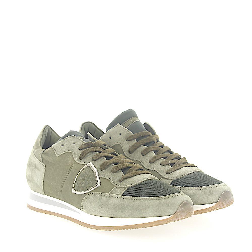 Sneaker TROPEZ calfskin mesh suede green Philippe Model tYpCve