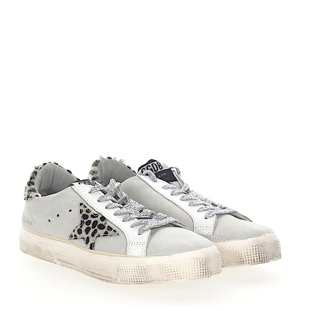 Golden Goose Sneakers MAY suede leather white Star-Patch Pony leo look BJY6DQV