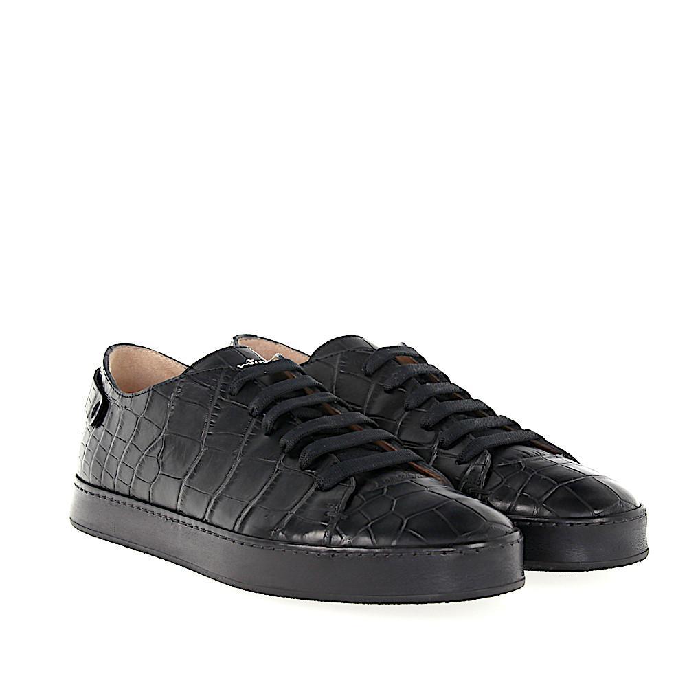 Sneaker 20756 crocodile leather Finished Logo blue Santoni 8TsHl