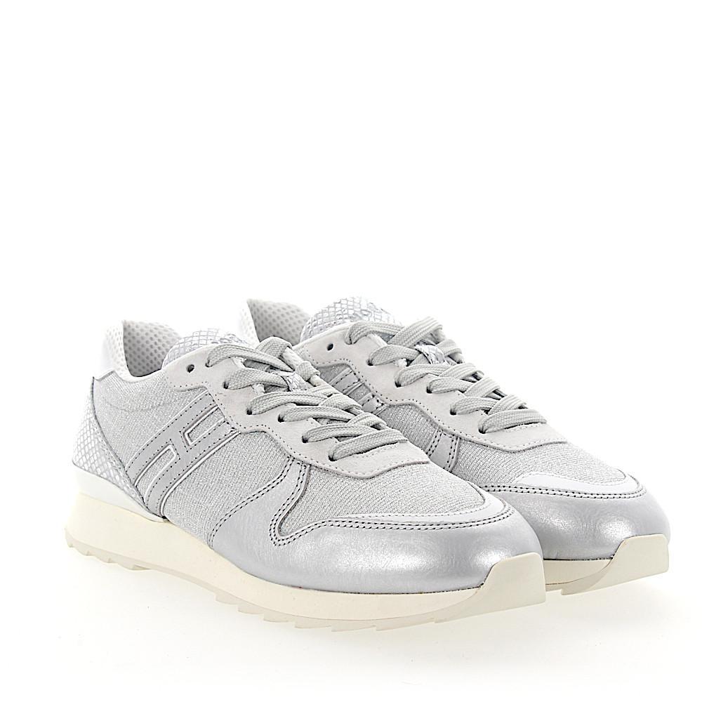 Lyst - Hogan Sneakers R261 Calfskin Glitter Textile Light Grey ... c5cbc114639