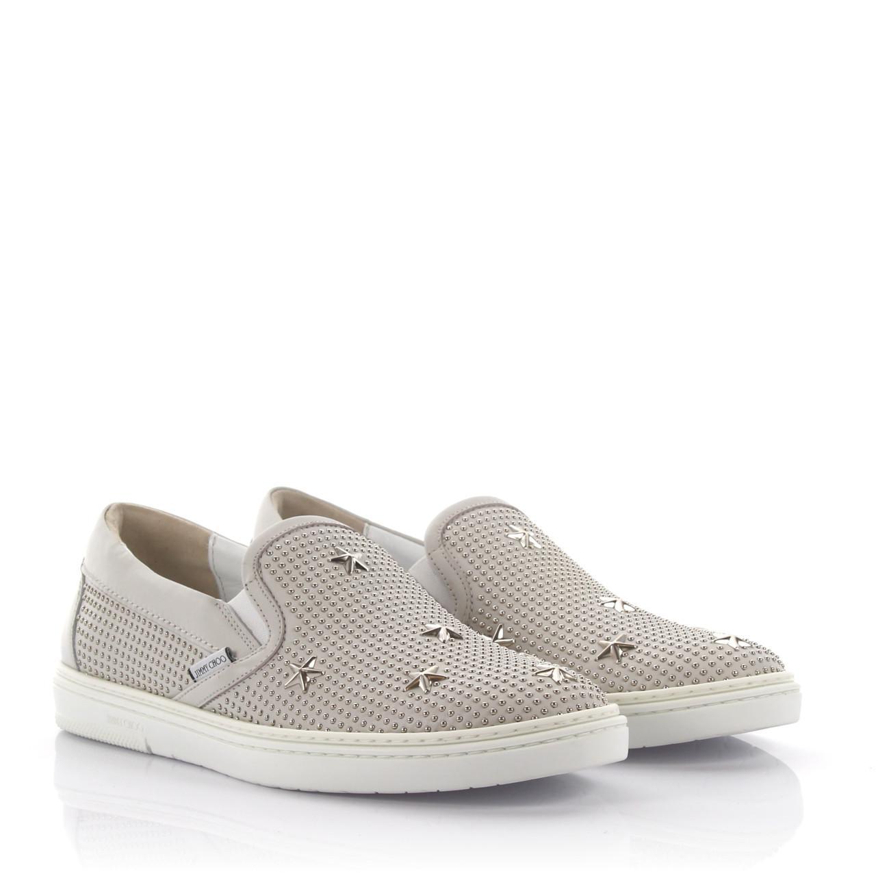 Jimmy chooSneakers slip on Grove leather studs stars silver iK3b1X