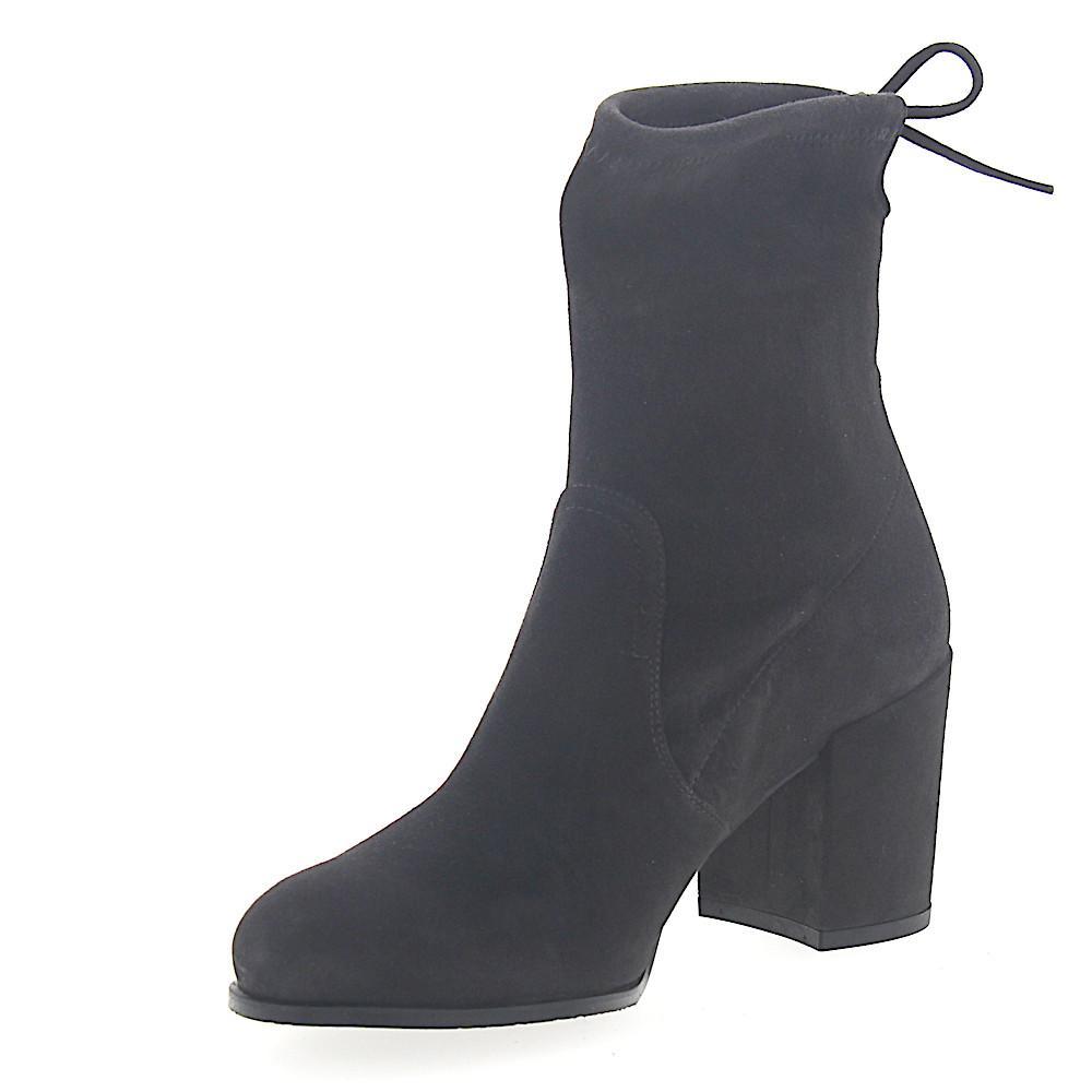 Stuart Weitzman Cowboy-/ Biker Ankle Boots Suede Synthetic Ribbon Dark Grey in Grey