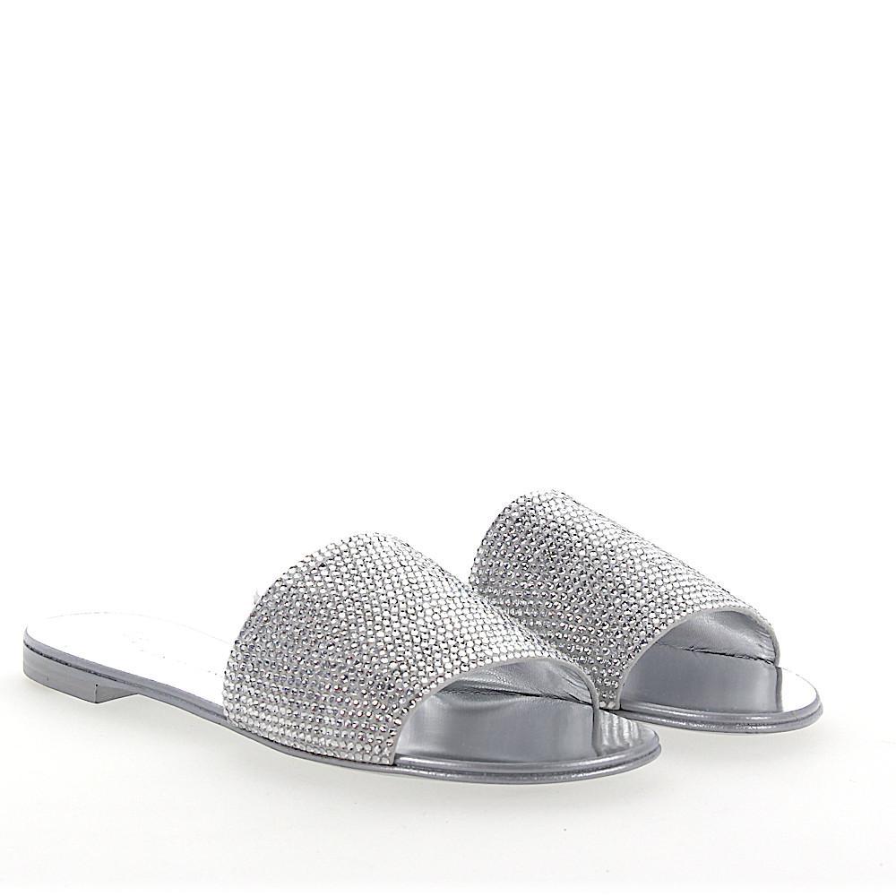 463cdb44d6ea0 Giuseppe Zanotti Sandals Roll 10 Suede Strass Light Grey Silver in ...