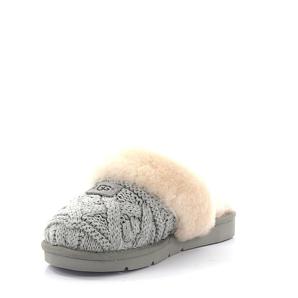 Ugg - Gray House Slippers Cozy Cable Knitted Grey Lamb Fur - Lyst. View  fullscreen 6128202a2