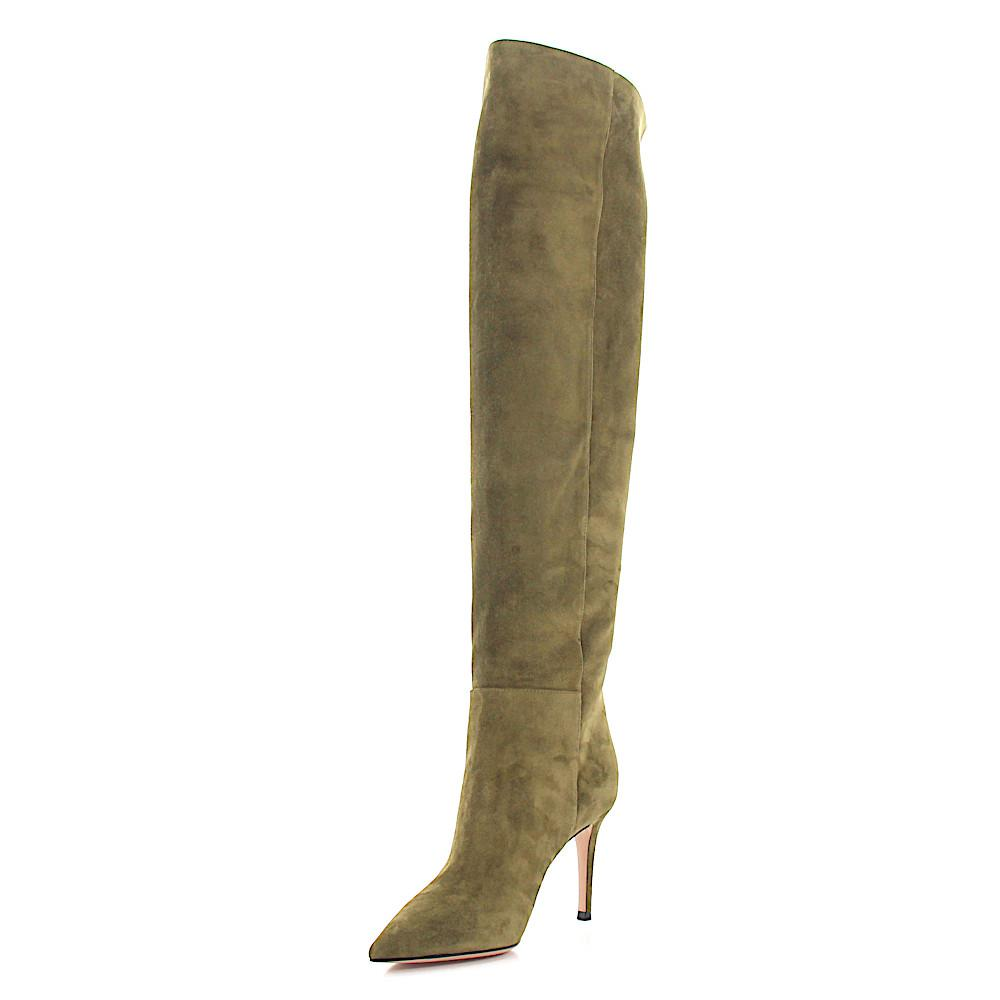 Gianvito Rossi Suede Heeled Boots in Green