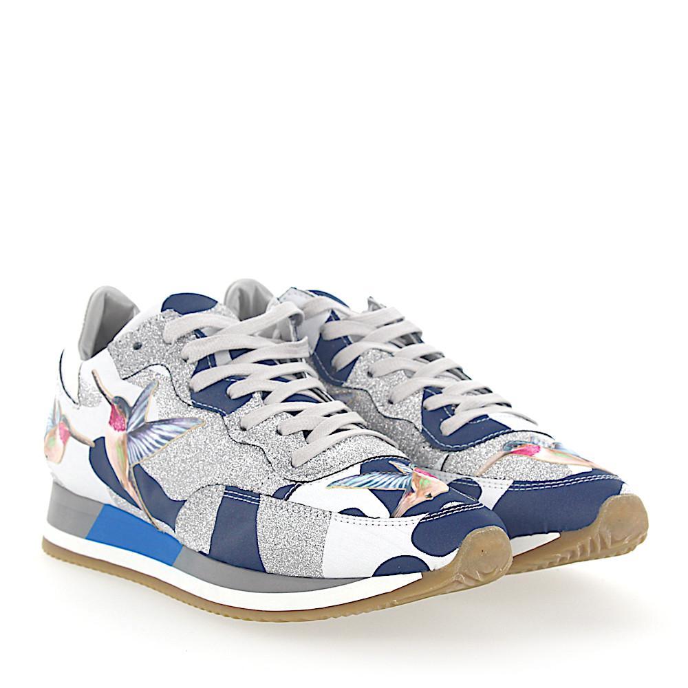 Sneakers PARADIS leather camouflage blue white glitter silver humming-bird Philippe Model wko6Dwn