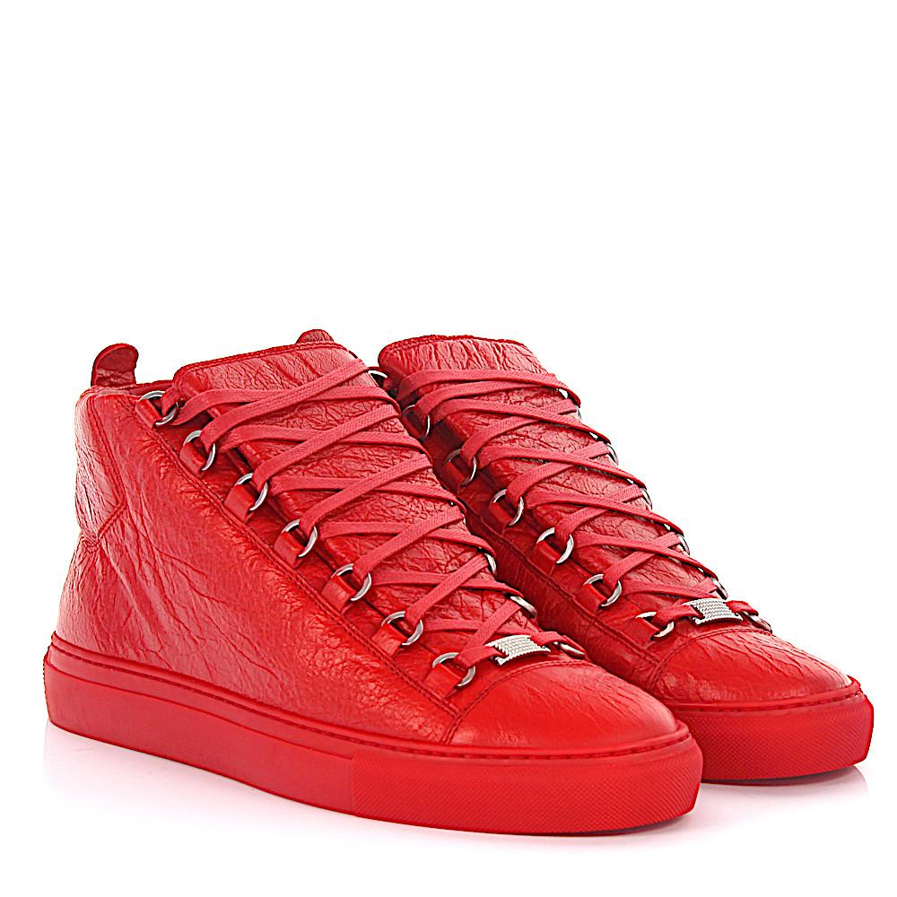 BalenciagaSneaker Arena Opaque high lambskin leather crinkled ORn3t