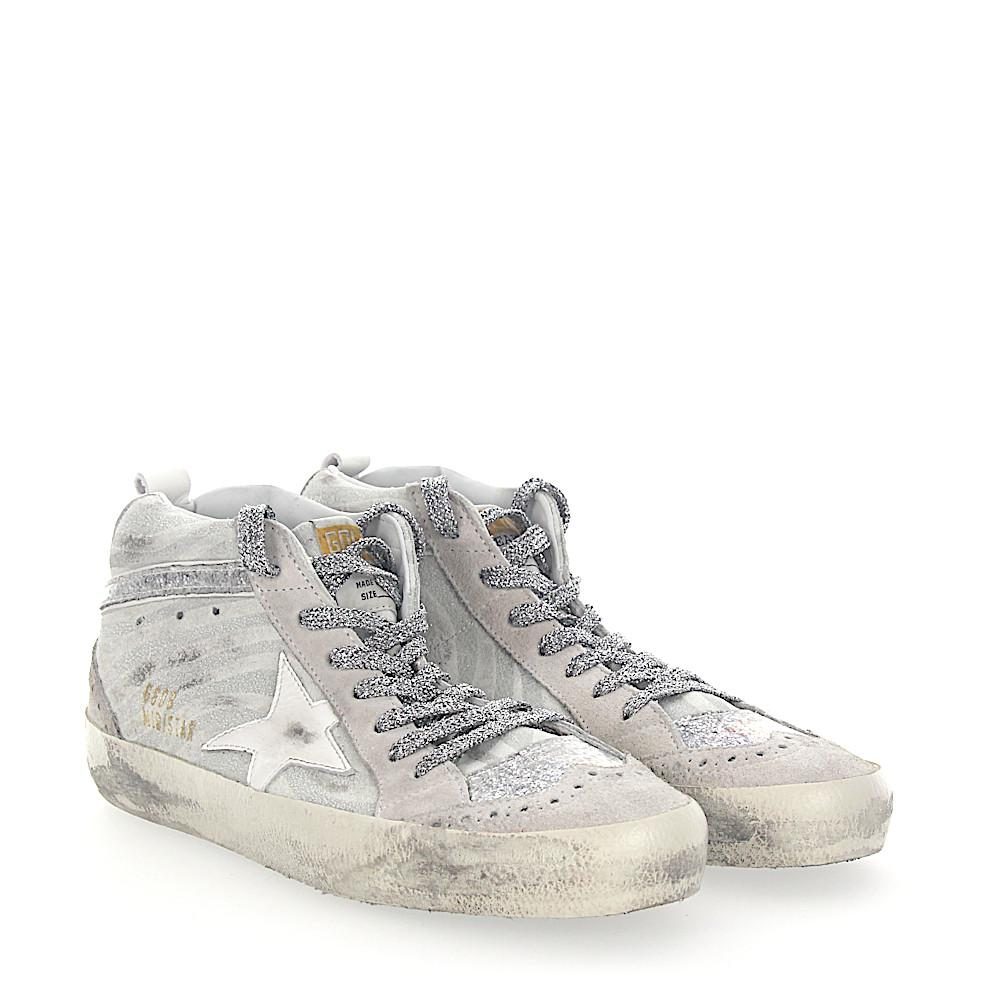 Golden Goose Sneakers MID STAR suede zebra look glitter Star-Patch white FtlEiNhd
