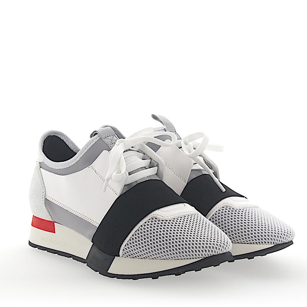 BalenciagaSneaker RACE RUNNER mesh nubuck textile black grey white l4mvWpbbq3