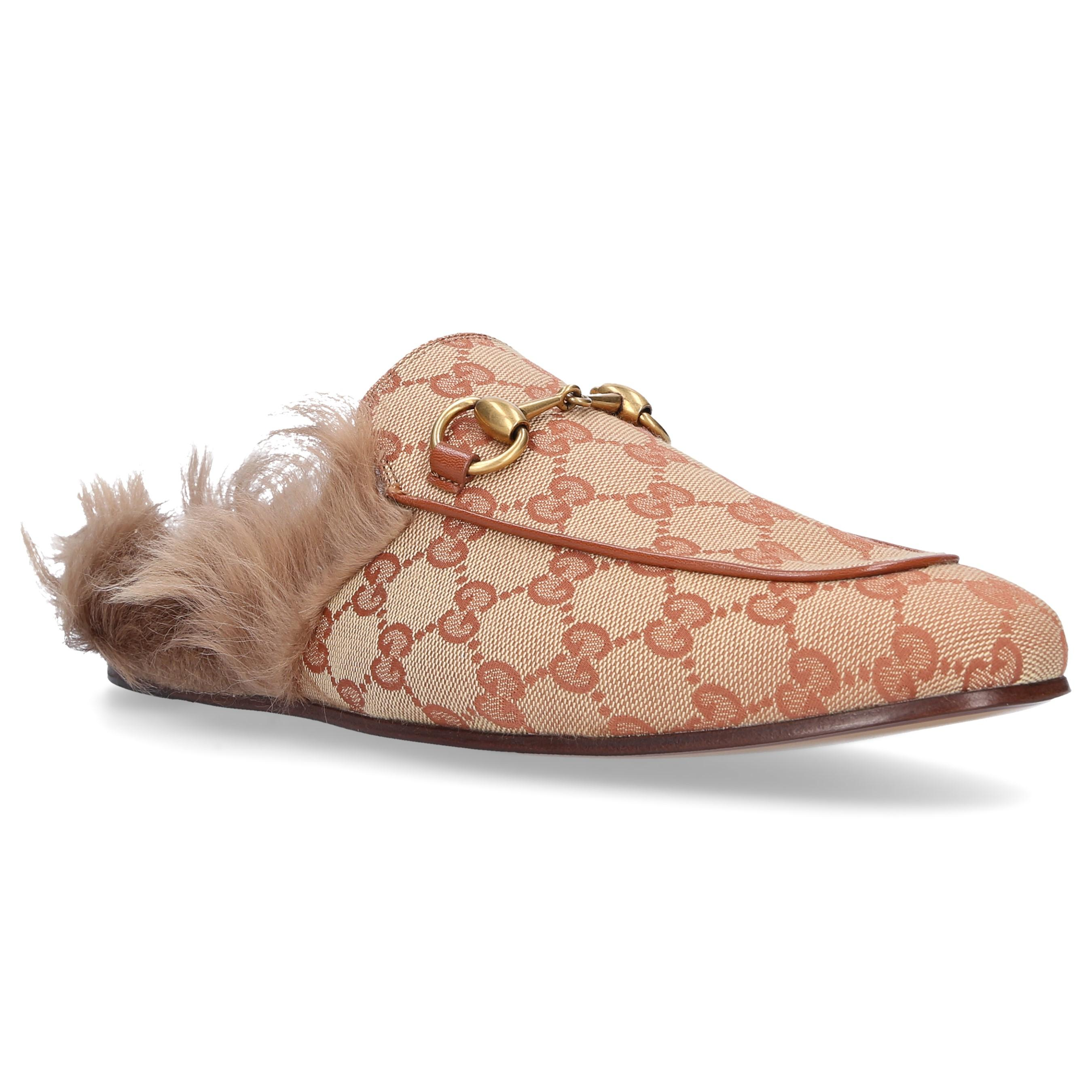 a0c35f14777 Gucci - Natural Princetown Canvas Slippers for Men - Lyst. View fullscreen