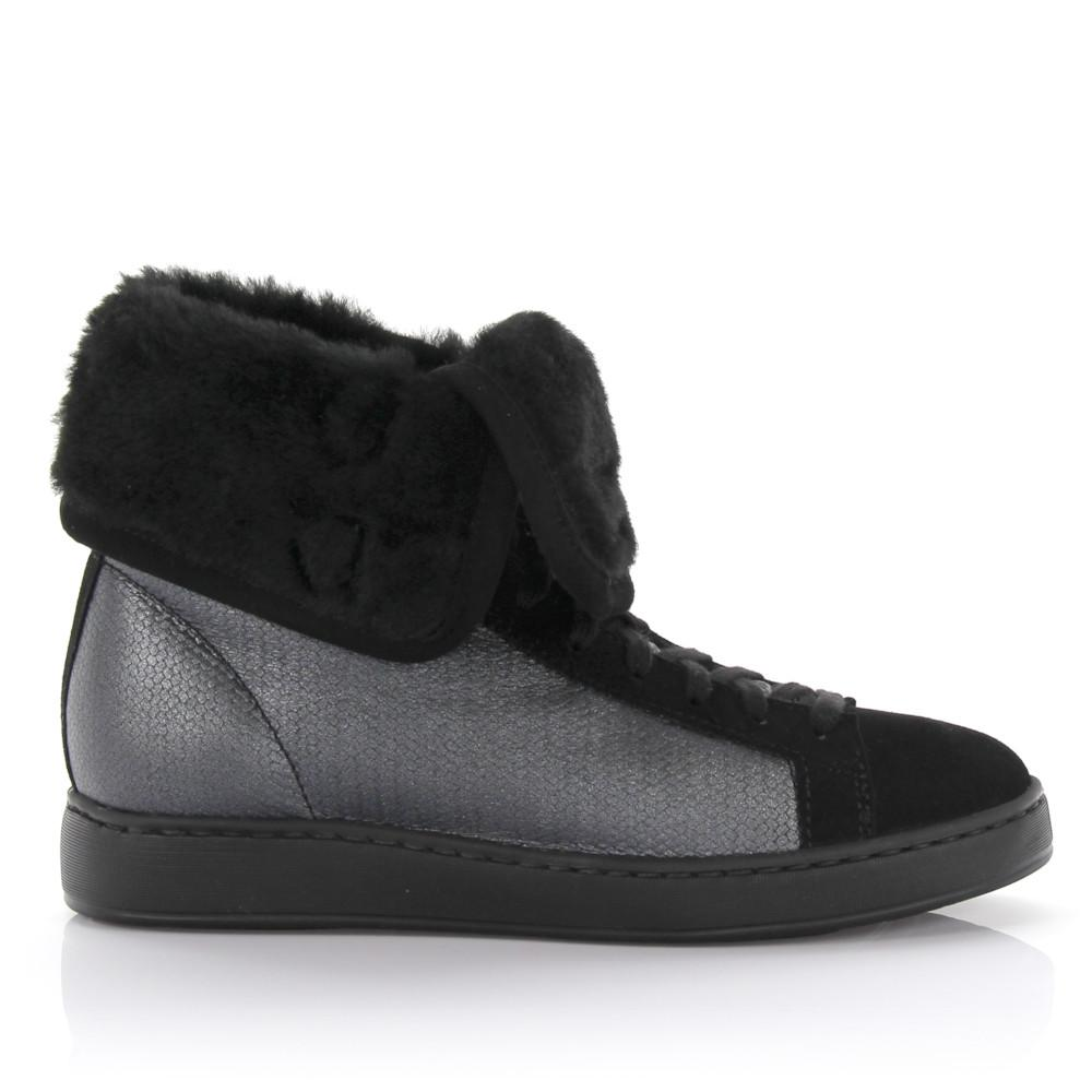 Santoni Leather High-top Sneakers in Black