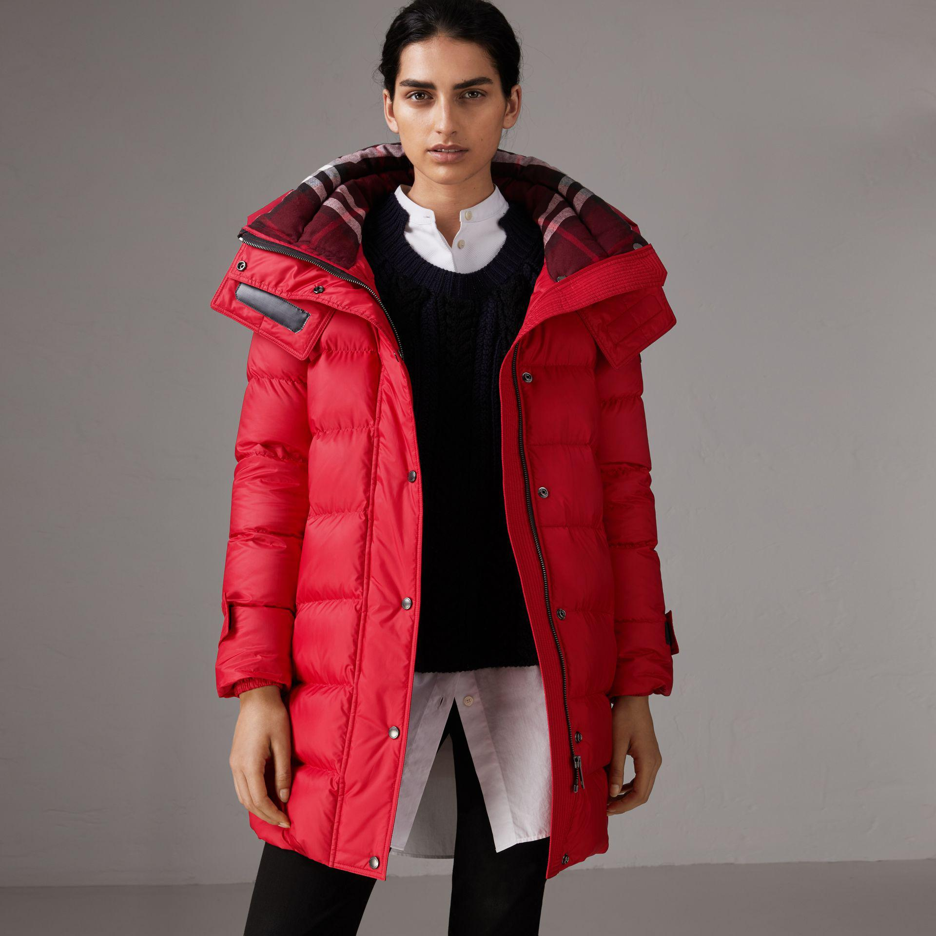 ca4db2636 Burberry Red Down-filled Puffer Coat With Detachable Hood