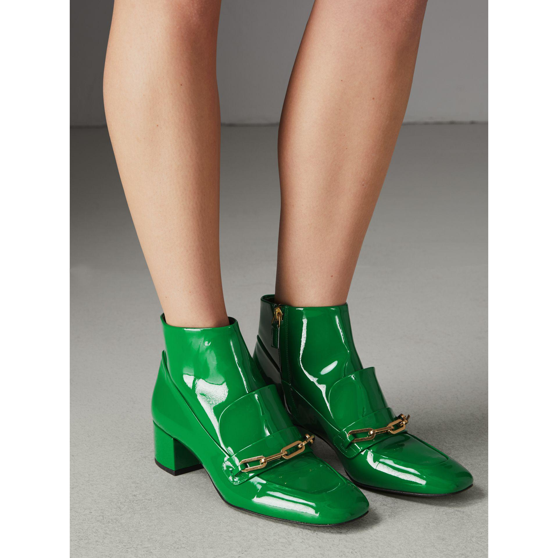 Detail Patent Leather Ankle Boots