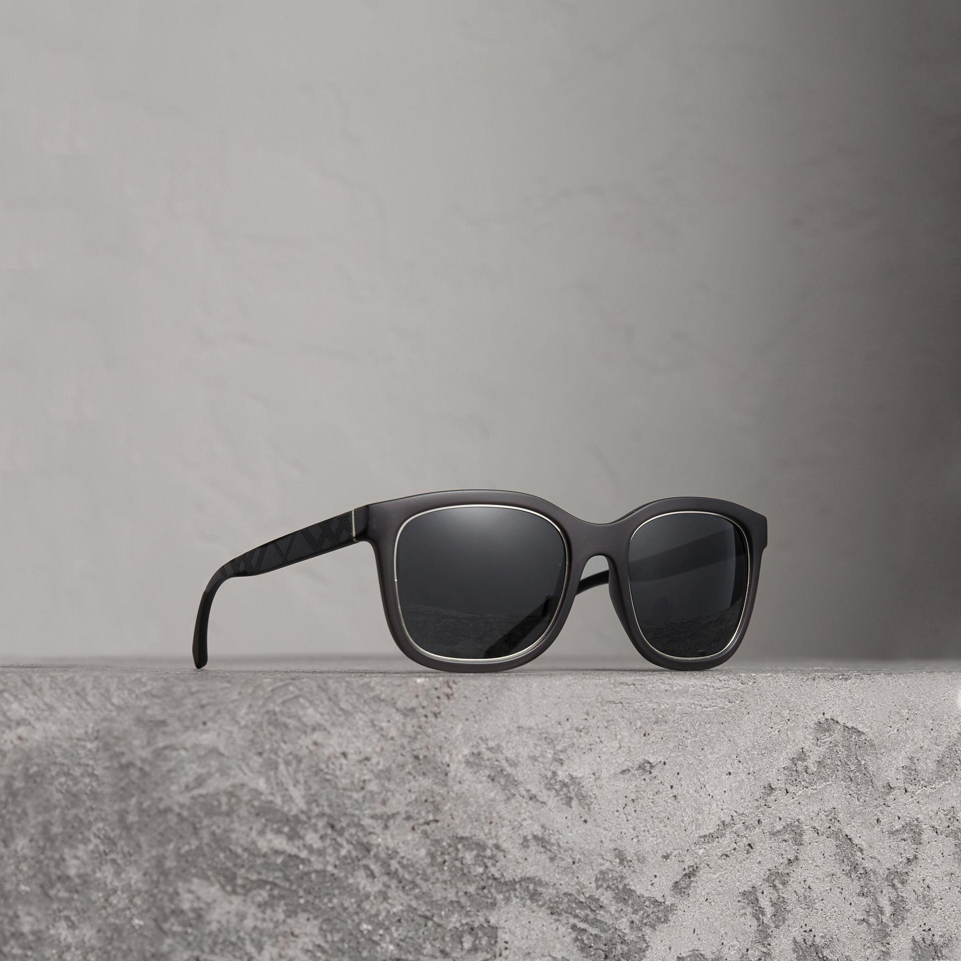 c40095eb680 Lyst - Burberry Embossed Check Detail Square Frame Sunglasses in ...