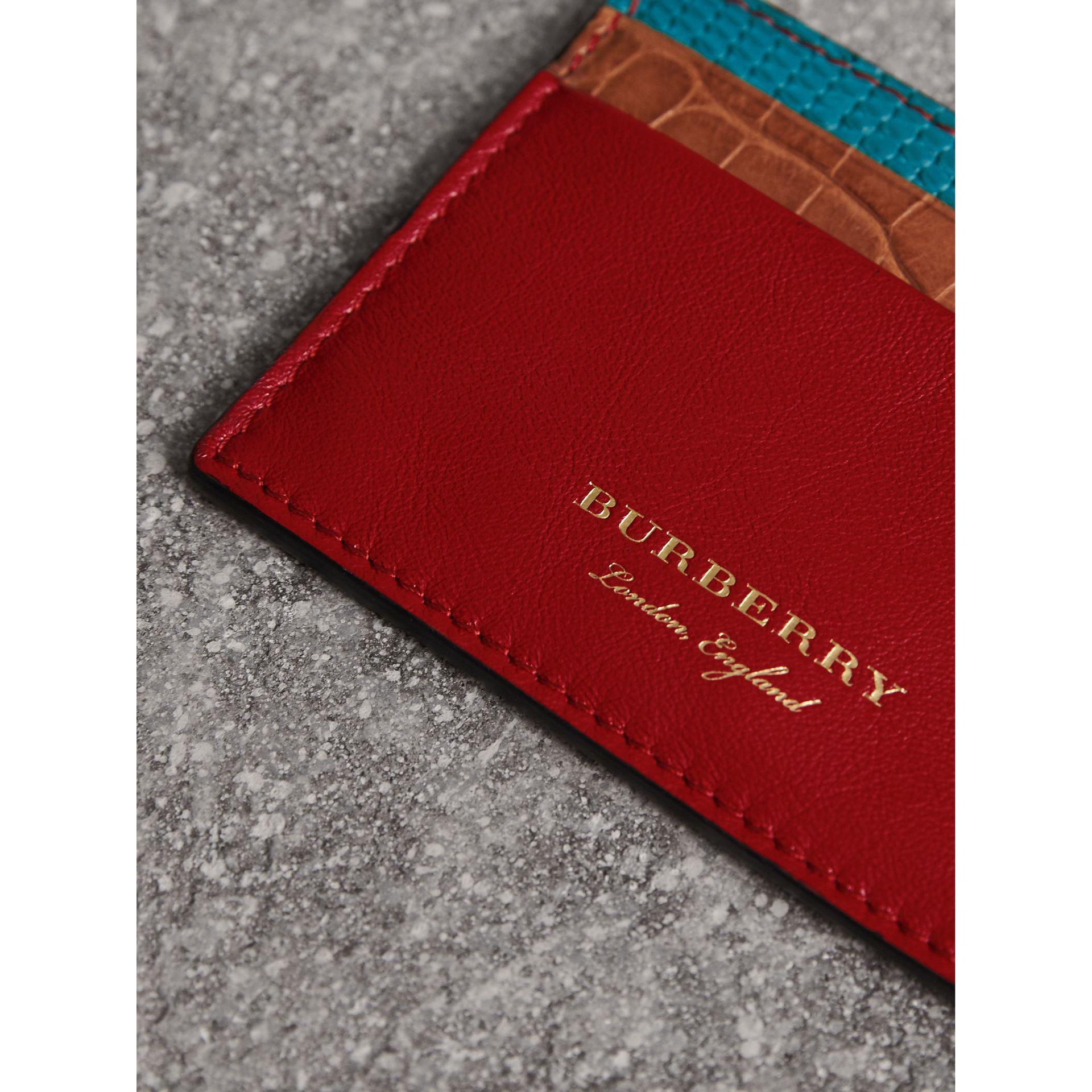 Burberry Leather Lizard And Alligator Card Case In Red Lyst