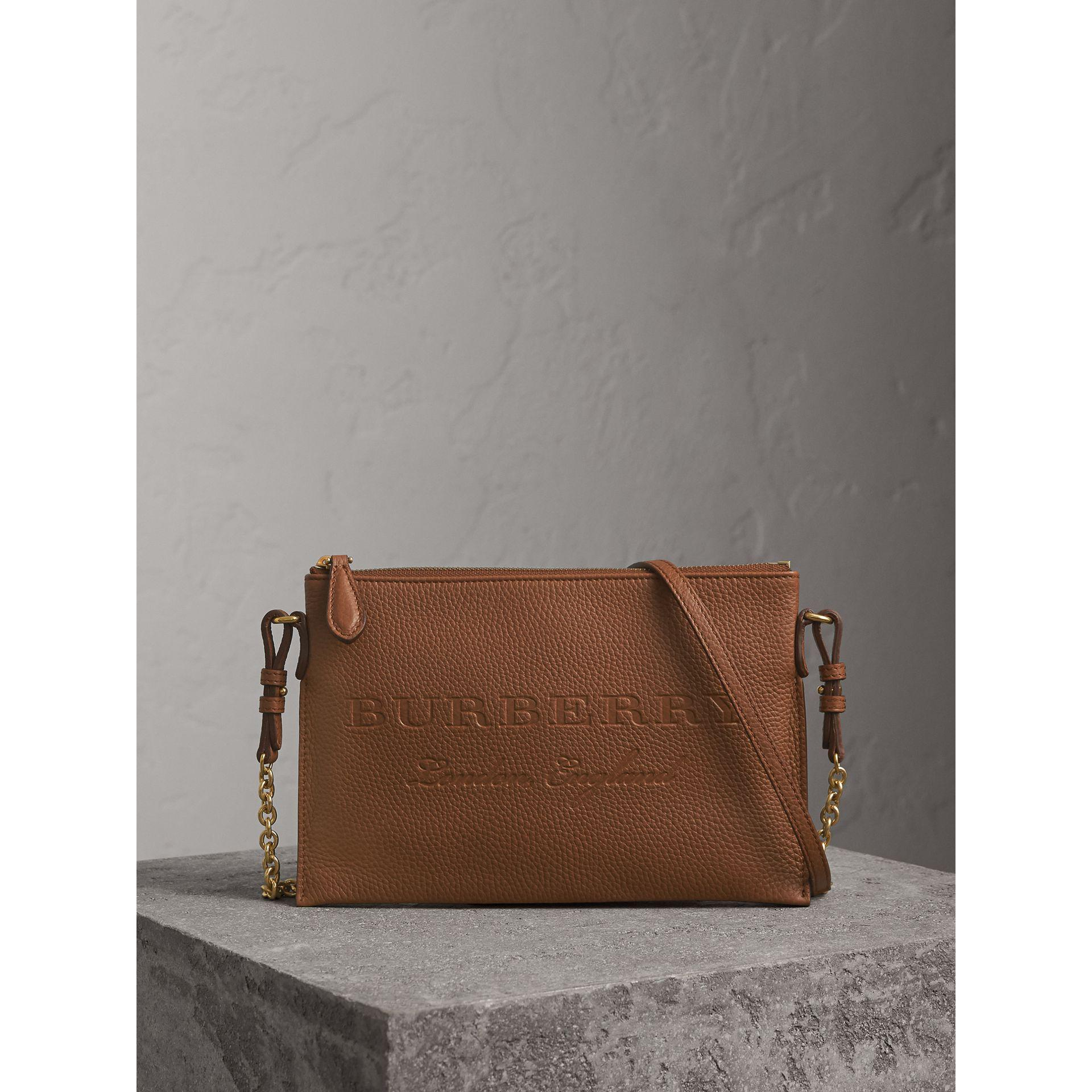 90ae83f083e4 Lyst - Burberry Embossed Leather Clutch Bag in Brown