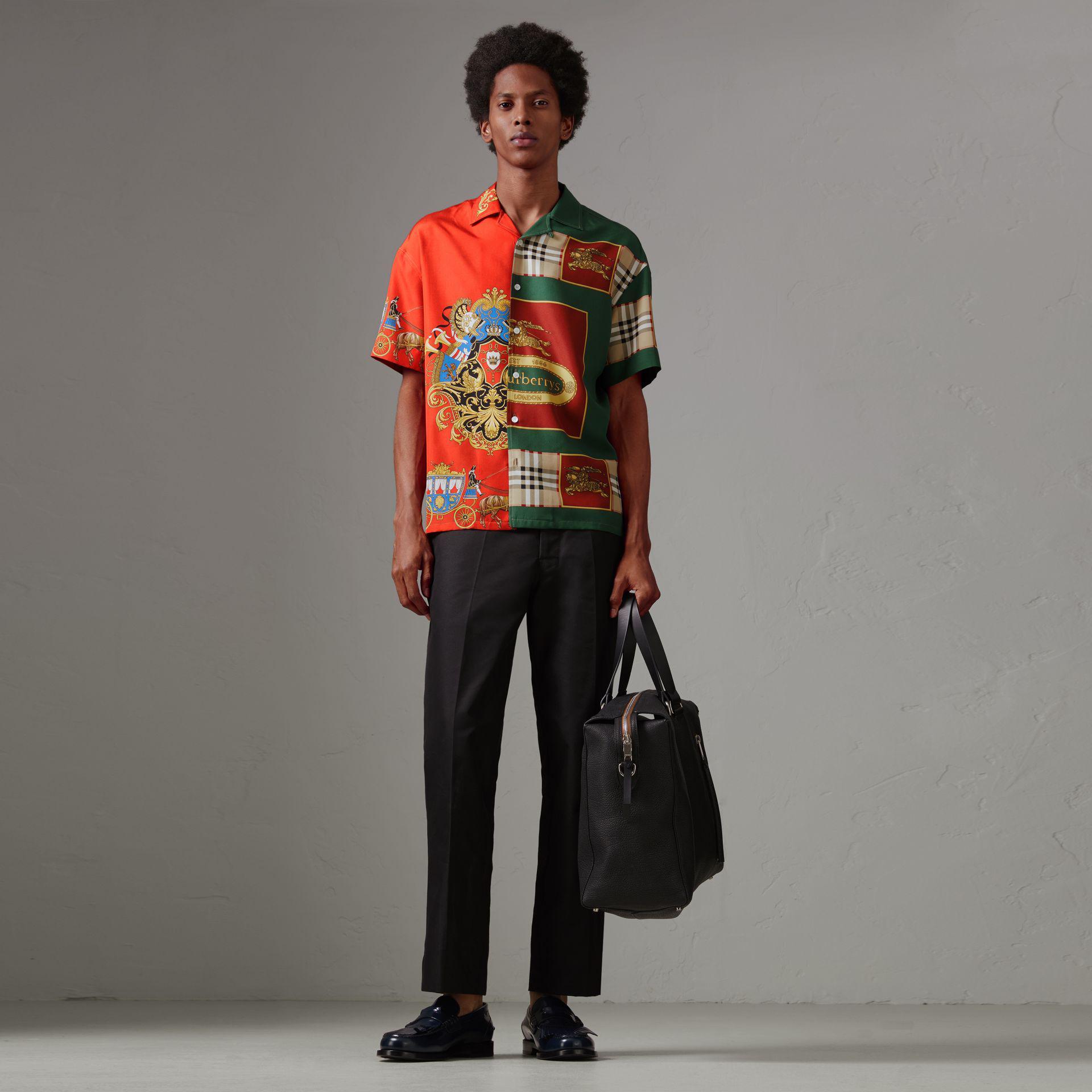 e724538931acd Burberry Short-sleeve Archive Scarf Print Silk Shirt for Men - Lyst