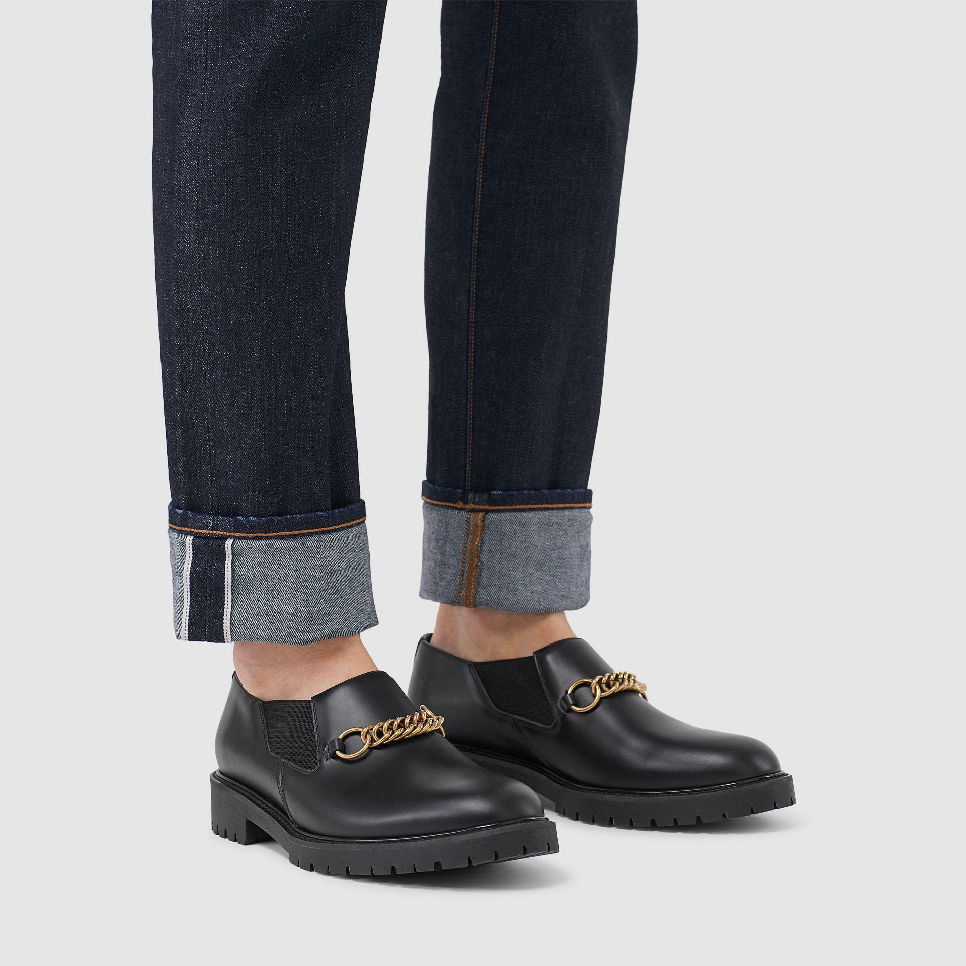 3ea5ce08f25 Lyst - Burberry The Perforated Leather Link Loafer in Black for Men